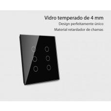 Interruptor Touch com 6 botões (4x4) com Função Remote e Paralelo - Preto - Livolo - LMS-VL-C506SR-82