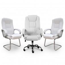 Kit 1 Cadeira Presidente Giratória LMS-BE-8-661 + 2 Cadeiras Interlocutor LMS-BE-8-661-F - Brancas