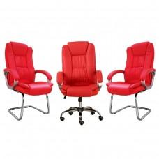 Kit 1 Cadeira Presidente Giratória LMS-BE-8-661 + 2 Cadeiras Interlocutor LMS-BE-8-661-F - Vermelhas