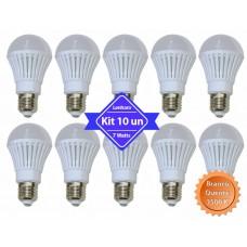 Kit com 10 Lâmpadas Led com Corpo de Plástico e Bulbo - 7 watts (7w) - Branco Quente - LMS-LMP3007