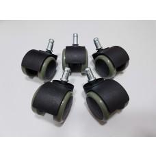 Kit com 5 rodízios em ABS Preto / Cinza para cadeiras de escritório Lenharo - LMS-BY-AC5224