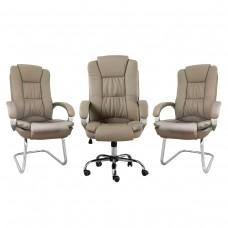 Kit 1 Cadeira Presidente Giratória LMS-BE-8-661 + 2 Cadeiras Interlocutor LMS-BE-8-661-F - Taupe / Bege Médio