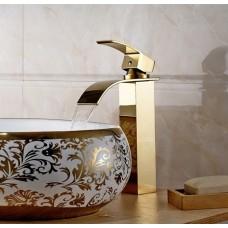 Kit com Cuba em Cerâmica Dourada + Torneira Monocomando com Misturador Dourada LMS1226G + Ralo Click Dourado - LMS-CTR04