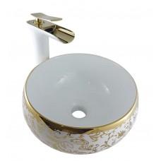 Kit com Cuba em Cerâmica Dourada + Torneira Monocomando com Misturador Dourada LMS-007WG + Ralo Click Dourado - LMS-CTR05