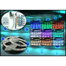 Kit Fita LED RGB 5050 com 5 (cinco) metros (IP20) + Controle + Controlador com 24 teclas