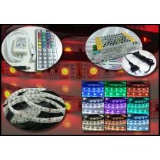 Kit Fita LED RGB 5 metros (IP65) + Controle + Controlador de 24 teclas + Fonte 12v