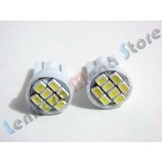 Par de Lâmpadas Pingo T10 com 8 LEDs - 12 volts - Branca