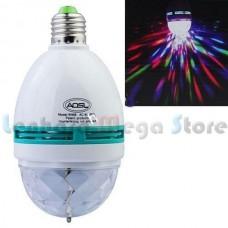 Lâmpada E27 Led RGB - Bola maluca com auto rotação e Adaptador para tomadas