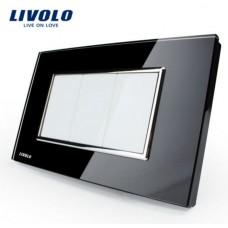 Espelho Livolo Com 3 Espelhos Cegos Acabamento Em Vidro Temperado Preto - LMS-VL-C300-O-82
