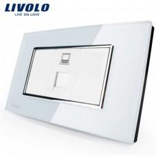 Espelho Livolo Com 1 Entrada de Rede (RJ45) Acabamento Em Vidro Temperado Branco - LMS-VL-C391C-81