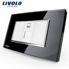 Espelho Livolo Com 1 Entrada de Rede (RJ45) Acabamento Em Vidro Temperado Preto - LMS-VL-C391C-82