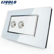Espelho Livolo Com 2 Entradas para TV (COAXIAL) Acabamento Em Vidro Temperado Branco - LMS-VL-C392ST-81