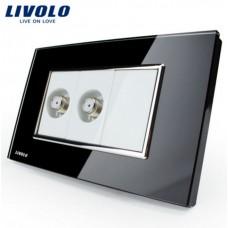 Espelho Livolo Com 2 Entradas para TV (COAXIAL) Acabamento Em Vidro Temperado Preto - LMS-VL-C392ST-82 - 2178