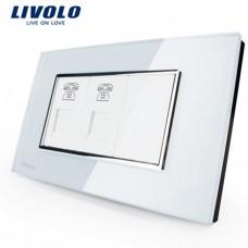 Espelho Livolo Com 2 Entrada para Telefone (RJ11) Acabamento Em Vidro Temperado Branco - LMS-VL-C392T-81