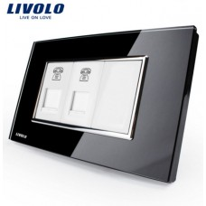Espelho Livolo Com 2 Entrada para Telefone (RJ11) Acabamento Em Vidro Temperado Preto - LMS-VL-C392T-82