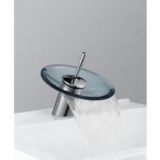 Torneira para Banheiro com Cascata de Vidro AZUL, Monocomando com Misturador - LMS-1202A