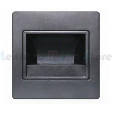 Luminária Balizador / Arandela Para Escadas LED - Branco Frio - Acabamento PRETO + Caixinha para Embutir - LMS-BLZBF-PRT
