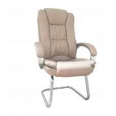 Cadeira Presidente Interlocutor Almofadada para Escritório Marrom / Taupe com Base Fixa - LMS-BY-8-661-1-F