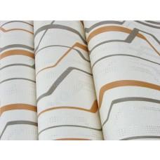 Papel de Parede Lavável - Lindo desenho Creme com detalhes Cinza Escuro, Laranja e Prata- Rolo com 10m x 53cm - LMS-PPY-YWJ02-3