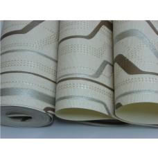 Papel de Parede Lavável - Creme - Detalhes Marrom e Cinza - Lindo desenho - Rolo com 10m x 53cm - LMS-PPY-YWJ02-4