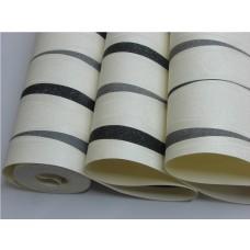 Papel de Parede Lavável - Creme - Detalhes Preto e Cinza - Lindo desenho - Rolo com 10m x 53cm - LMS-PPY-YWJ01-3