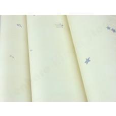 Papel de Parede  - Lindo desenho Creme com detalhes em Azul - Rolo com 10m x 53cm - LMS-PPD-A5101