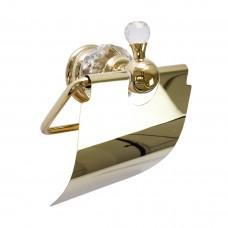 Suporte para Papel Higiênico / Papeleira em Metal Dourado - Acabamento Redondo com detalhes Transparentes - LMS-AB-G154-04G