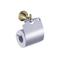 Suporte para Papel Higiênico / Papeleira em Metal Dourado com Cromado - Acabamento Redondo - LMS-AB5307G