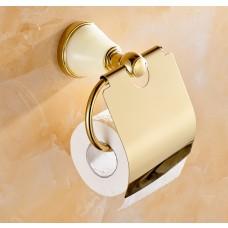 Suporte para Papel Higiênico / Papeleira em Metal Dourado com Pedra - Acabamento Redondo - LMS-AB86207G