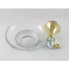 Porta Sabonete / Saboneteira em Metal Dourado com Cromado, Base de Vidro - Acabamento Redondo - LMS-AB5303G