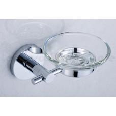 Porta Sabonete / Saboneteira em Metal Cromado com Base de Vidro - Acabamento Redondo - LMS-AB9507C