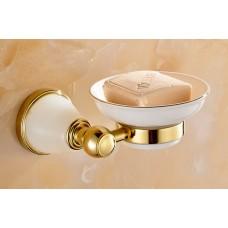 Porta Sabonete / Saboneteira em Metal Dourado com Pedra, Base de Cerâmica - Acabamento Redondo com Detalhe em Pedra - LMS-AB86203G