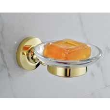 Porta Sabonete / Saboneteira em Metal Dourado com Base de Vidro - Acabamento Redondo - LMS-AB7303G