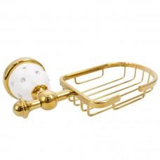 Porta Sabonete / Saboneteira em Metal Dourado - Acabamento Redondo com detalhe Branco e Strass - LMS-AB-G127-07G