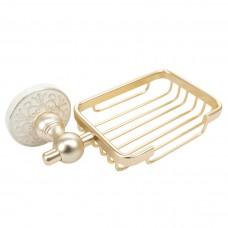 Porta Sabonete / Saboneteira em Metal Dourado - Acabamento Redondo com detalhe Branco e Dourado - LMS-AB-G105-07GW