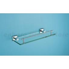 Porta Shampoo em Metal Cromado com Base de Vidro - Acabamento Quadrado - LMS-AB8909