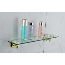 Porta Shampoo em Metal Dourado com Base de Vidro - Acabamento Redondo - LMS-AB7310G