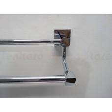 Porta Toalha Longo Duplo / Toalheiro em Metal Cromado - Acabamento Quadrado - LMS-AB8948