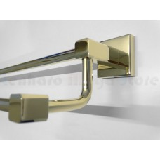 Porta Toalha Longo Duplo / Toalheiro em Metal Dourado - Acabamento Quadrado - LMS-AB8948G