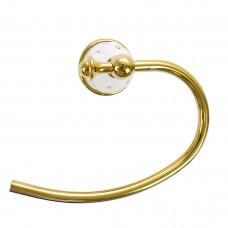 Porta Toalha de Rosto / Toalheiro em Metal Dourado - Acabamento Redondo com detalhes Branco e Strass - LMS-AB-G127-06G