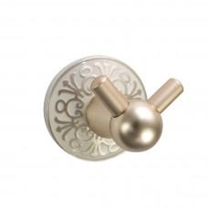 Porta Toalha Gancho / Toalheiro em Metal Dourado - Acabamento Redondo com detalhes em Branco e Dourado - LMS-AB-G105-10GW