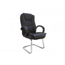 Cadeira Presidente Interlocutor Almofadada para Escritório Preta com Base Fixa - LMS-BE-8-661-F