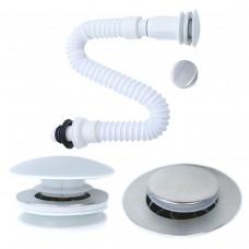 Ralo / Válvula Click Inteligente Dual - Acabamento em Metal ou Cerâmica Para Cubas - Com Sifão - LMS-MK-DS1005