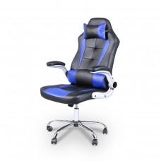 Cadeira Gamer Giratória - Preta e Azul - LMS-YO-RC-718