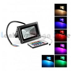 Refletor / Holofote Led RGB 10W - Com controle remoto de 16 cores - Bivolt - A prova dágua. LMS-RFLRGB-10W