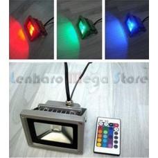 Refletor / Holofote Led RGB 30W - Com controle remoto de 16 cores - Bivolt - A prova dágua.