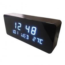 Relógio, Despertador e Sensor de Temperatura em MDF com Led Branco e Corpo Preto - LMS-R1501BP