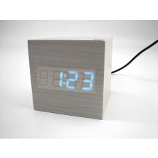 Relógio, Despertador e Sensor de Temperatura em MDF com Led Azul e Corpo Branco - LMS-R1293AB