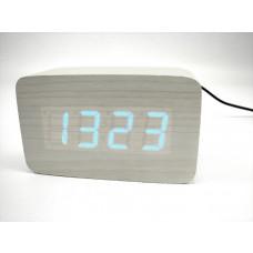Relógio, Despertador e Sensor de Temperatura em MDF com Led Azul e Corpo Branco - LMS-R1294AB