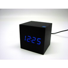 Relógio, Despertador e Sensor de Temperatura em MDF com Led Azul e Corpo Preto - LMS-R1293AP